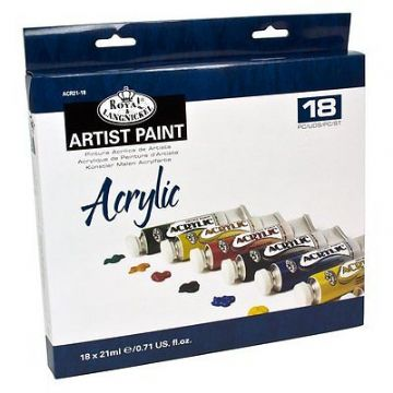 ARTISTS ACRYLIC PAINTING ART SET OF 18 + 2 BRUSHES BY ROYAL & LANGNICKEL